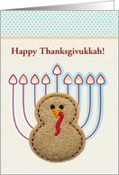 Turkey with Menorah Tail Feathers, Thanksgivukkah, Custom Text card