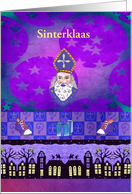 Sinterklaas on the Roof Tops, Shoes with Carrots, Dutch, Custom Text card