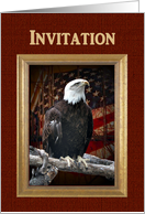 Labor Day Party Invitation, Proud Eagle on log in front of old flag card