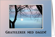 Gratulerer med dagen!, Happy Birthday in Norwegian, Pastel Sky card
