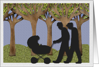 Two men and a baby walk in the park / Congratulations on your new baby card