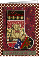 Teddy Bear Stocking, Baby's First Christmas, For Goddaughter card