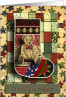 Teddy Bear Stocking with Stars / Baby's First Christmas / For Goddaughter card