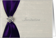 Wedding Invitation, Deep Purple Satin Ribbon with Jewel card