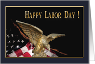 Eagle Soar with American Flag, Labor Day card