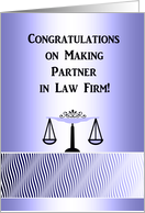 Congratulations Making Partner in Law Firm, Scales in Blue card