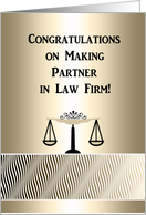Congratulations Making Partner in Law Firm, Scales on Gold Abstact card