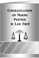 Congratulations Making Partner in Law Firm, Scales on Silver Abstact card