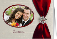 Photo Card Wedding Invitation, Scarlet Red Satin Ribbon with Jewel card
