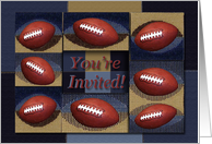You're Invited, Football Blue and Tan Design card