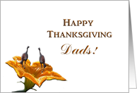 To Both Dads, Thanksgiving, Two Turkeys on Pumpkin Flower card