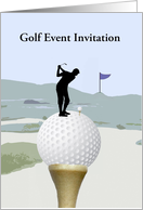 Golf Event Invitation, Business, Man playing Golf, Custom Text card