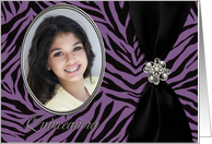 Purple Zebra Patterned Quinceañera Photo Card Invitation 2 card