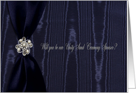 Unity Sand Ceremony Sponsor, Blue Ribbon with Faux Jewel on Moire card