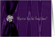 Unity Sand Ceremony Sponsor, Purple Ribbon Look with Jewel on Moire card