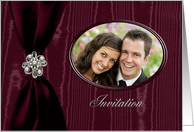 Wedding Invitation Photo Card, Red Ribbon Look with Jewel on Moire card