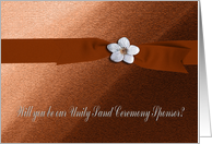Unity Sand Ceremony Sponsor, Autumn Ribbon with Flower on Peach card