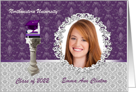 Cap and Diploma Photo Card, Graduation Announcement, Purple card