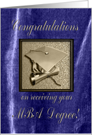 Congratulations on receiving your MBA Degree, Gold Cap on Purple card