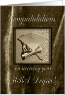 Congratulations on receiving your MBA Degree, Gold Cap on Brown card