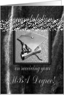 Congratulations on receiving your MBA Degree, Silver Cap on Gray card