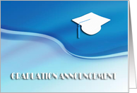 Community College Graduation Announcement, White Cap on Blue Wave card