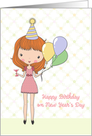 Cute Girl, Birthday on New Year's Day card