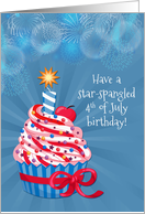 Fourth of July Birthday Cupcake and Fireworks card