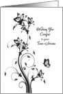 Sympathy in Time of Sorrow Black and White Floral card