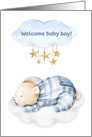 Welcome Baby Boy with Sleeping Bear, Clouds and Stars card