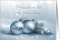 Blue Sparkle Holiday Ornaments card