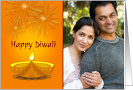 Happy Diwali, Gold Candle, Fireworks, Photo Card