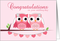 Pink Owls, Pink Hearts, Lesbian Wedding Congratulations card