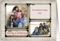 Merry Christmas Word Art, Photo Corners Holiday Photo Card