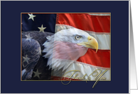 Eagle, American Flag, Thank You card