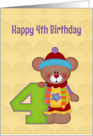 Fourth Birthday, Bear, Number Four card
