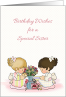 Cute Girls Tea Party, Birthday For Sister card