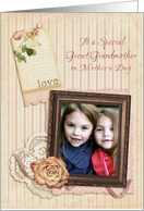 Vintage Rose for Great Grandmother, Mothers Day Photo Card