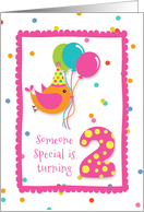 Birthday Bird, Confetti, Turning Two card