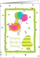 Birthday Bird, Confetti, Turning Four card