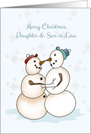 Snow Couple, Merry Christmas, Daugther, Son in Law card