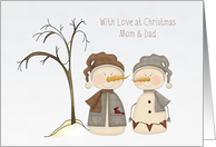 Snow Couple, Christmas, Mom and Dad card