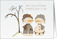 Snow Couple, Christmas, Brother and Sister-in-Law card