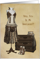 Steampunk Fashion, Bridesmaid Invitation card