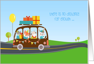 Animals on Bus, Happy Birthday from Across the Miles card