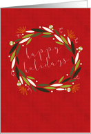 Modern Wreath on Red, Happy Holidays card