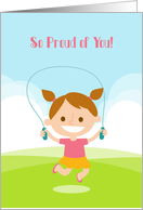 Learning to Jump Rope for Girl, Congratulations card