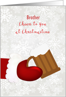 Santa Beer Mug Merry Christmas Brother Personalize card