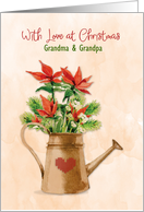 Christmas Poinsettia Watering Can with Heart Customize card