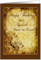 Grunge & Roses Burnt Daisies Birthday Sister-in-Law card